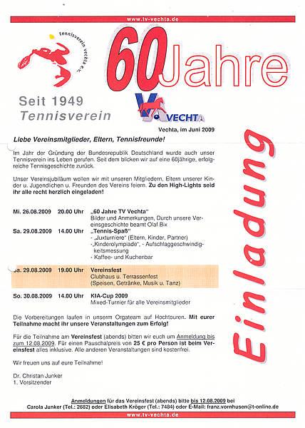 tennisverein vechta e.v.: tv vechta 60 jahre, Einladung